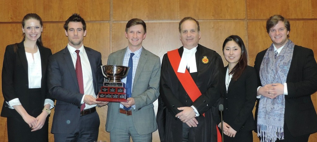 L to R: Elisabeth van Rensburg, counsel, Queen's University; Daniel Hamson, counsel, Osgoode Hall Law School; Alexander Payne, counsel, Osgoode Hall Law School; The Honourable Justice Andrew Goodman; Jessica He, counsel, University of Western Ontario; Joel Szaefer, counsel, University of Western Ontario