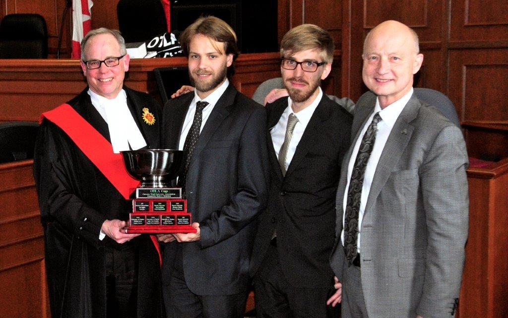 2015 OTLA Cup Winners with Justice Brian Abram and OTLA Director Derek Nicholson