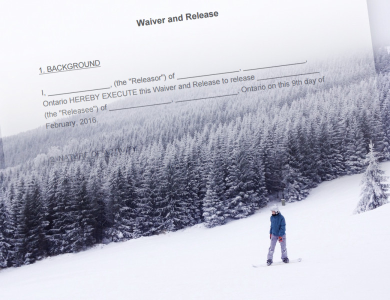 snowboarder on the slopes with waiver superimposed