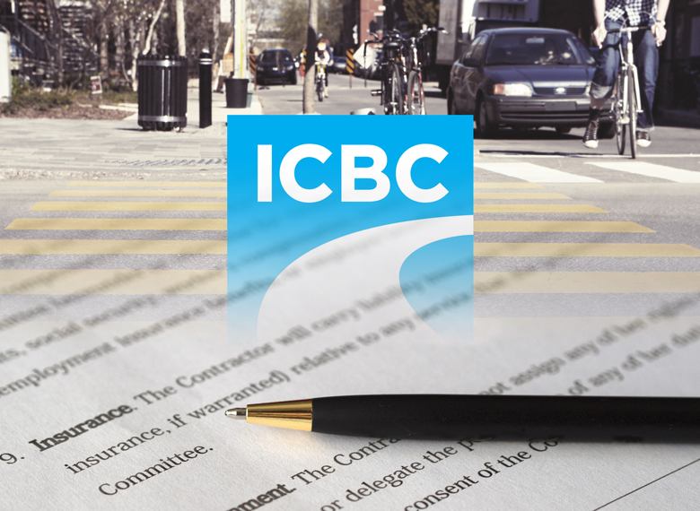 crosswalk photo with ICBC logo and insurance document overlaid