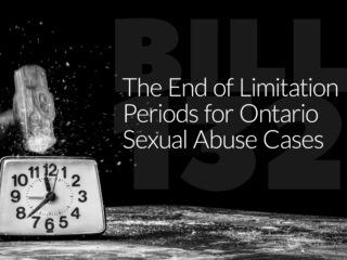 Hammer breaking a clock with text: The End of Limitation Periods for Ontario Sexual Abuse Cases