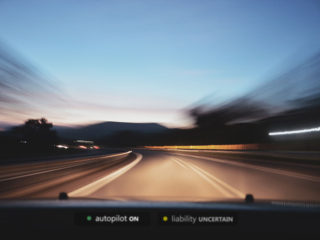 windshield HUD displays autopilot ON, liability uncertain