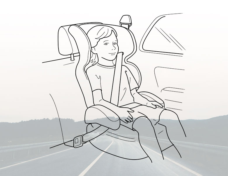 An illustration of a child seated in a car seat