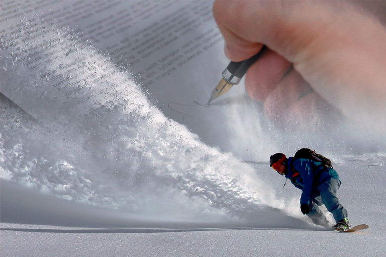 waiver superimposed on snowboarder's wake